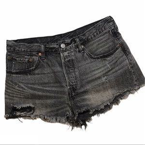 Levi's 501 Distressed Denim High Rise Jean Shorts